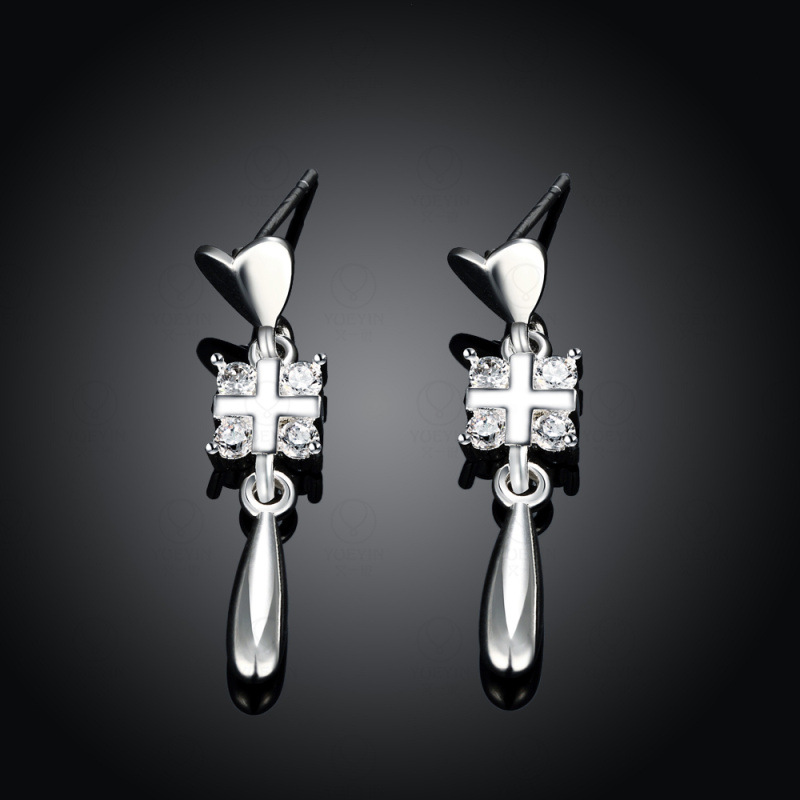 Special Design Cubic Zirconia Trendy Plated Cross Fine Jewelry Supplies Earrings Fashion High Quality for Women