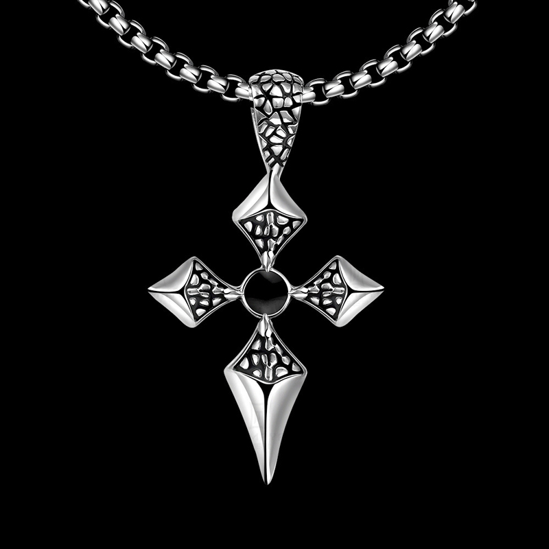 Stainless Steel Pendant Necklace Chain Jewelry Pop Art Retro Cross Pendant for Men
