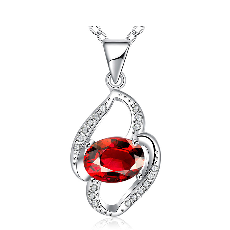 Elegant Jewelry Silver Plated Red/White Crystal Necklace Pendants&Necklaces Fashion Jewelry for Women