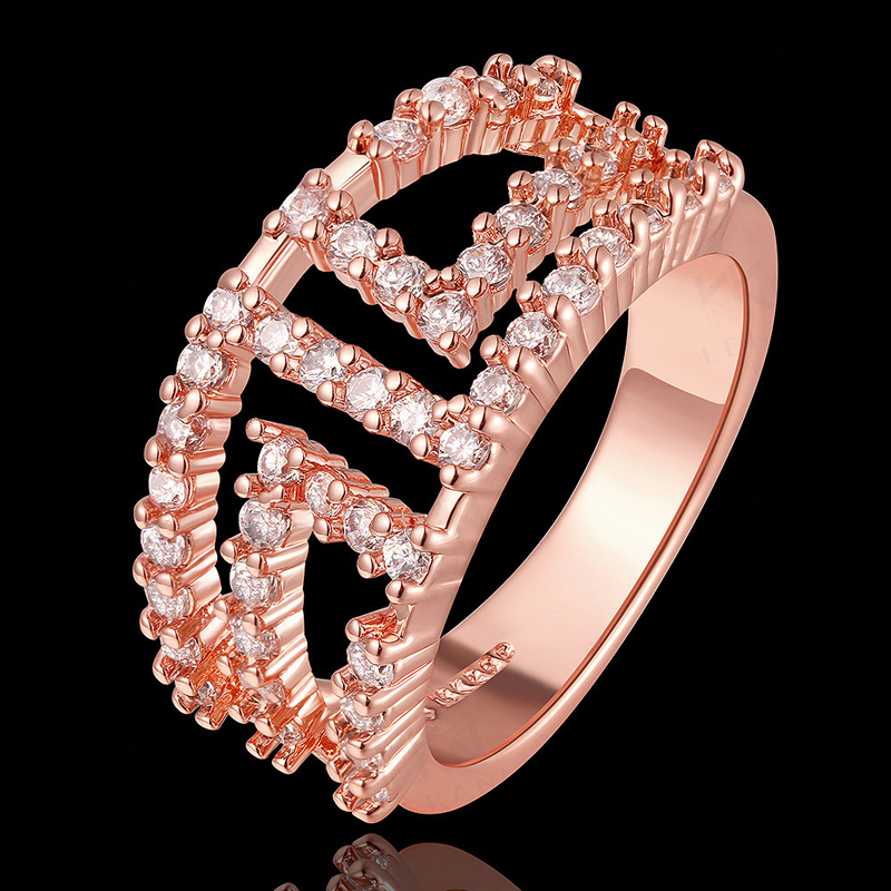 Classy Fashion Jewelry Latest Silver Plated Wedding Ring Designs Austrian Crystal for Women