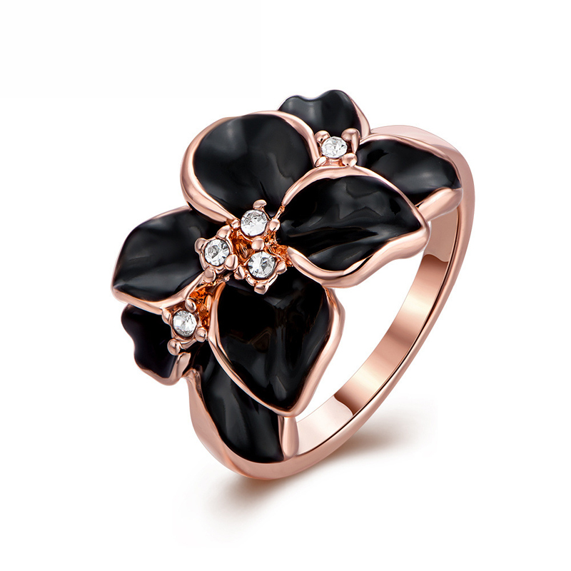 New Rose Gold Ring Flower Czech Jewelry Ring Plant Flower Ring Sporty Rose Gold Plated & Rhinestone for Lady