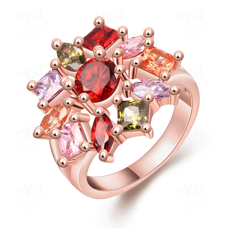 Europe Style Flower Shaped Rings Luxury Jewelry Popular Rings For Women