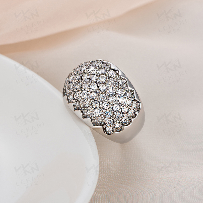High Quality 925 Sterling Silver Full Zircon Paved Ring Fashion Jewelry European Style Rings For Women