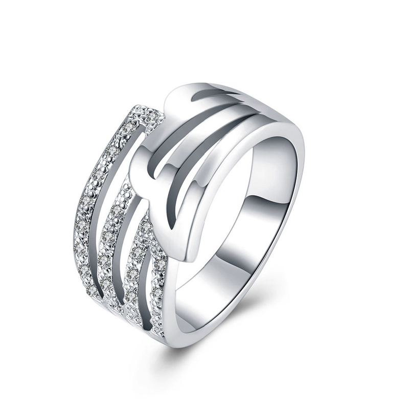 Fashion Jewelry Creative Design Hollow Rings 925 Sterling Silver Rings Zircon Paved For Women