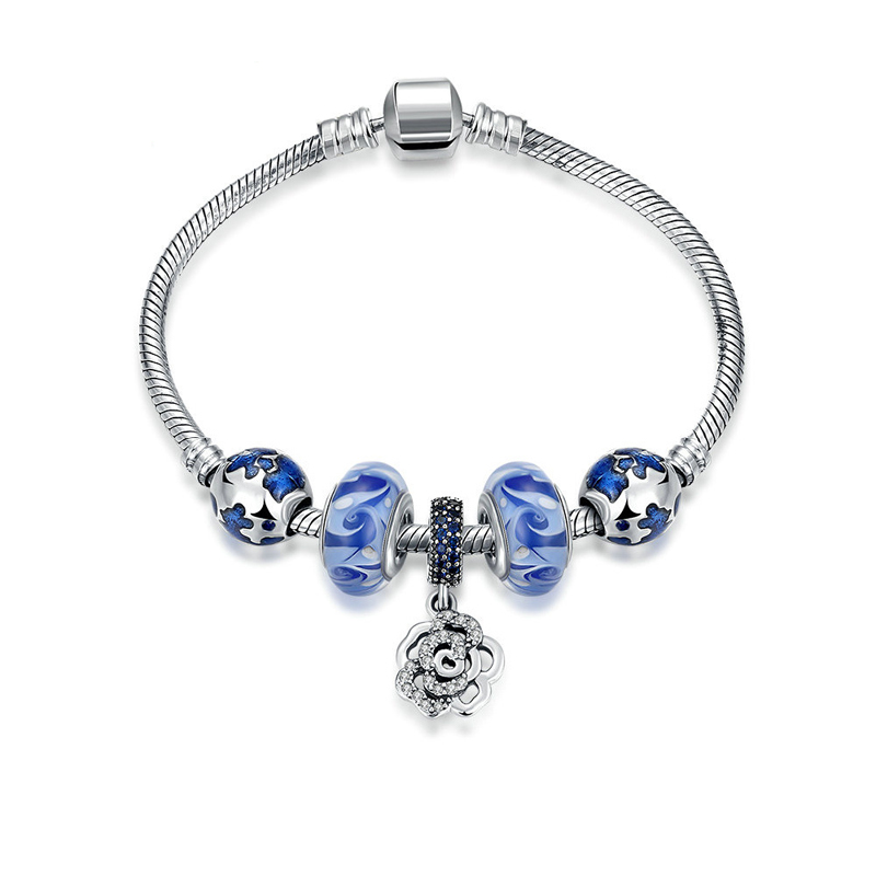 New Arrival Real Pure 925 Sterling Silver Jewelry Glass Beads Crystal Flower Charm Bracelets Party Engagement for Women