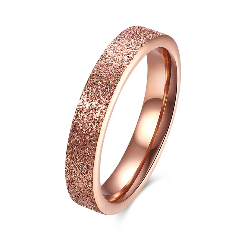 Classic Jewelry Rose Gold Plated Sand Blasting Ring Wedding & Promise Ring Party Prom Bague for Women