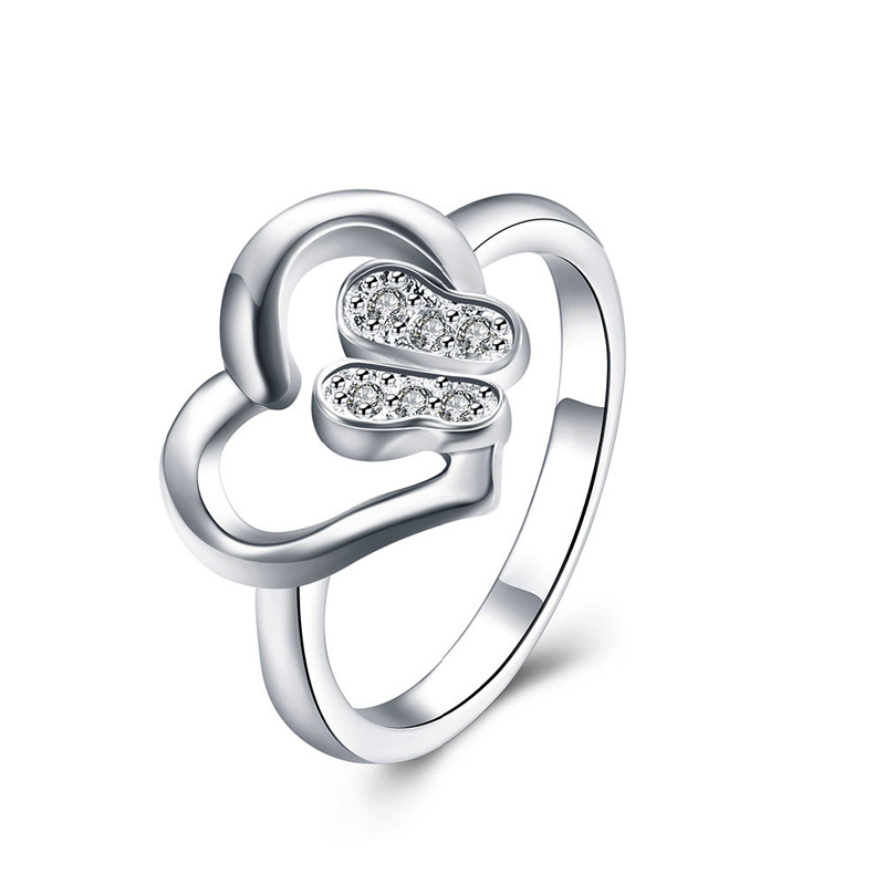 Newest Fashion Ring Silver Plated Ring Heart Shaped Rings Factory Price for Women