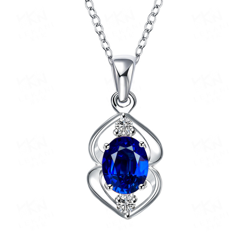Fashion Jewelry 925 Sterling Silver Necklace With Heart Crystal Zircon Pendant Link Chain Necklaces Pendants 4 Color for Women