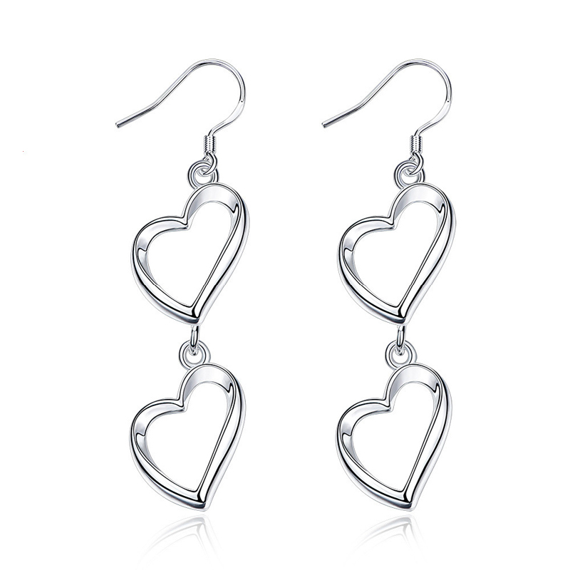 Fashion Jewelry Earrings Hollow Double Heart Earrings Simple Design for Women
