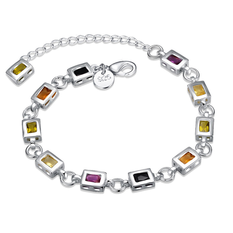 High Quality 925 Sterling Silver Bracelet Fashion Jewelry Square Color Stone Bracelet for Women
