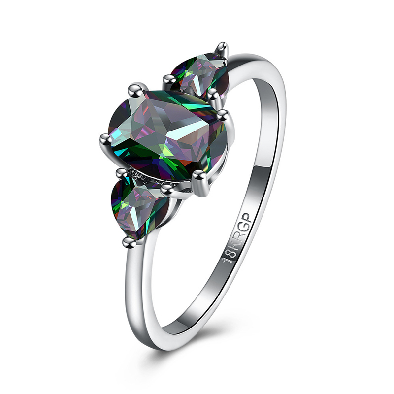 New High Quality Elegant Engagement Ring for girl Plated Silver Rings Colorful Zircon Ring Fashion Jewelry for Women