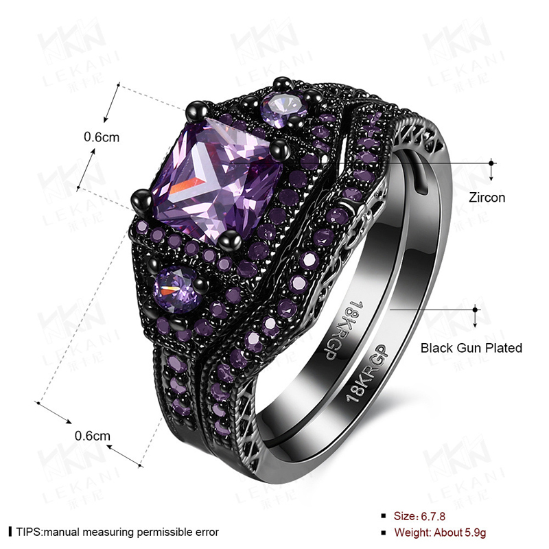 Hot!!!Luxury Double Layers Square Created Emerald Ring Black Gun Plated Bague Band Jewelry for Women