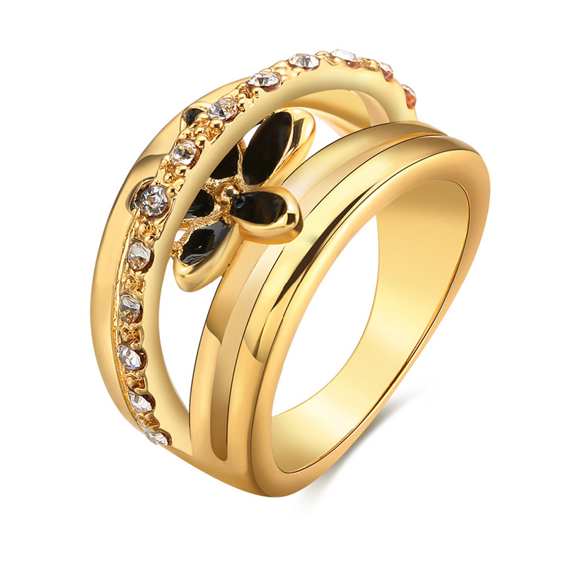 Fashion Flower Rings Popular Jewelry Rings Rose/Yellow Gold plated Rings for Women