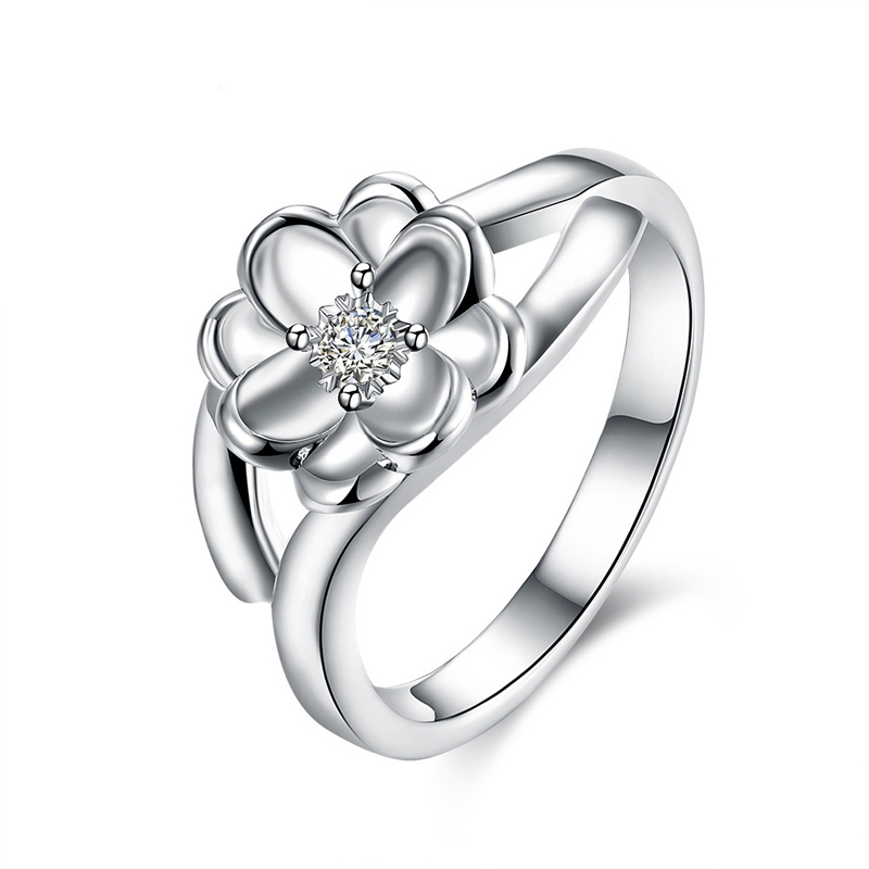 Newest Fashion Lotus-shaped Zircon Inlay Series Silver Plated Flower Ring Factory Price For Women