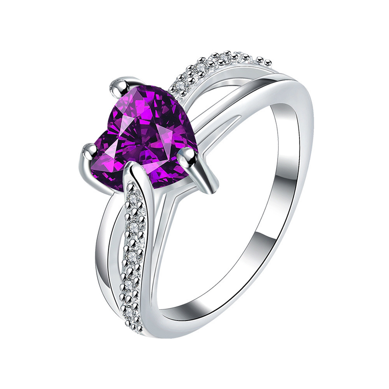 Hot Sale Silver Plated Elegant Heart Shaped Purple/White Cubic Zirconia Inlaid Rings Jewelry for Women