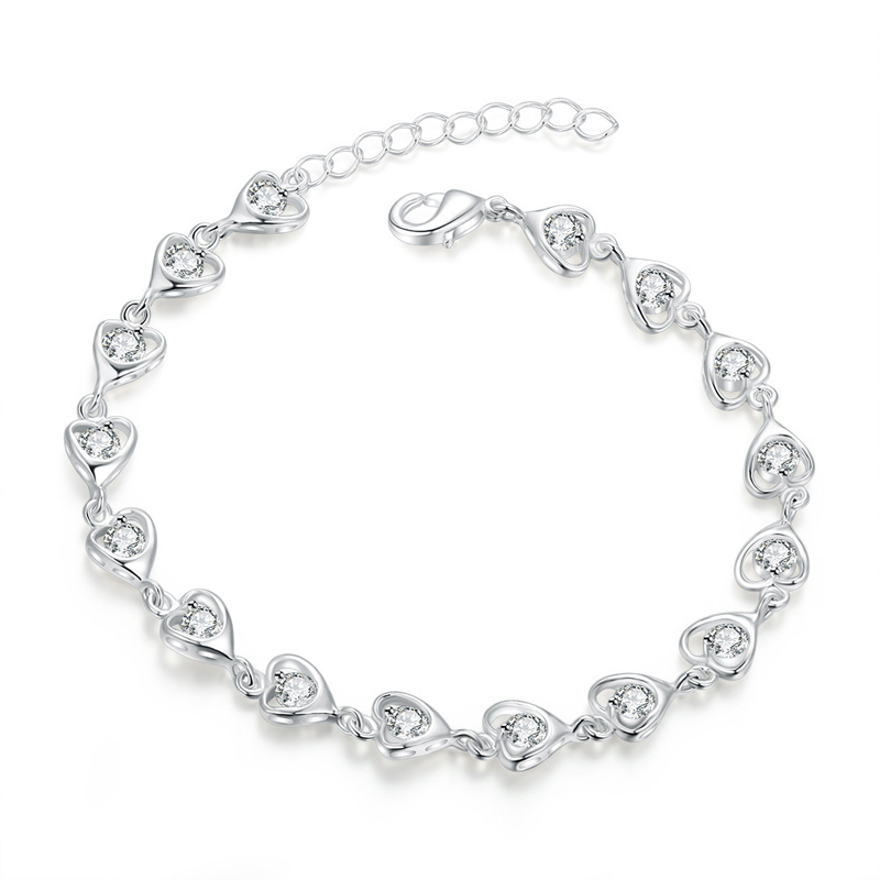 Fashion Jewelry Couples Silver Plated Heart Shape Bracelet Charm Chain Bracelet Top Sale for Women