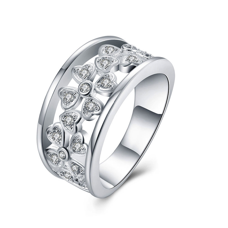 Hot Sale Unique Silver Jewelry Silver Plated Cubic Zirconia Fashion Jewelry Four Leaf Ring For Women