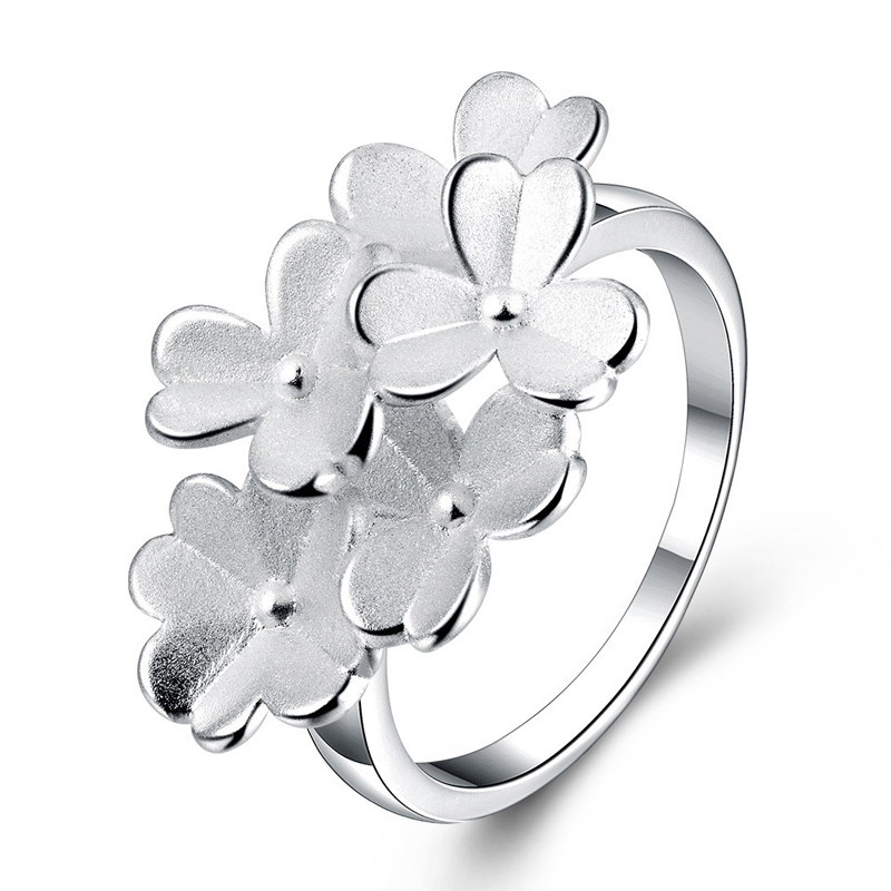 New Fashion Silver Plated Rings Jewelry European Popular Frosted Flowers Ring for Women