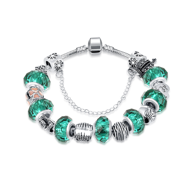 Fashion Jewelry Original Green Glass Magnet Charm Bracelet & Bangle DIY Beads Cable-wire Chain Bracelets for Women
