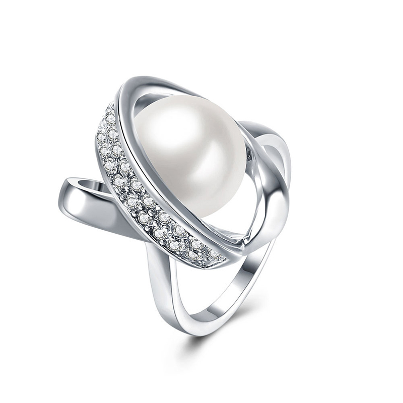 Fashion Design Pearl Rings Silver plated Zircon paved Rings for Women