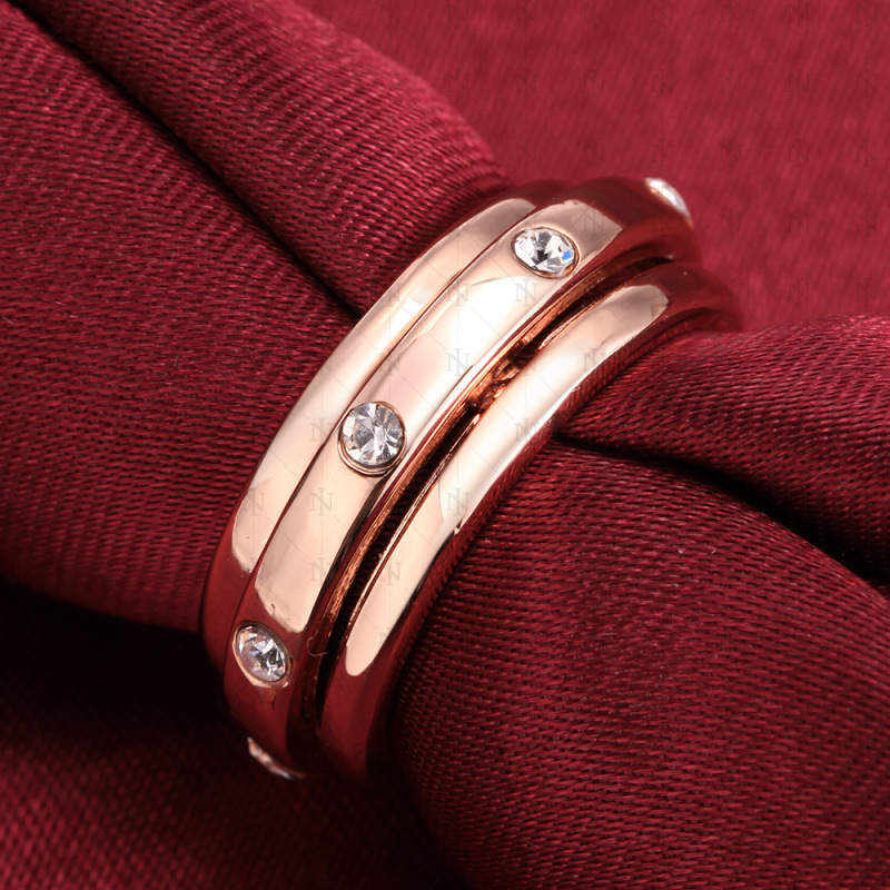 Fashion Jewelry Ring Jewelry Ring Round Ring Office Gold Plated & Rhinestone Gift Women Dress Accessories For Women
