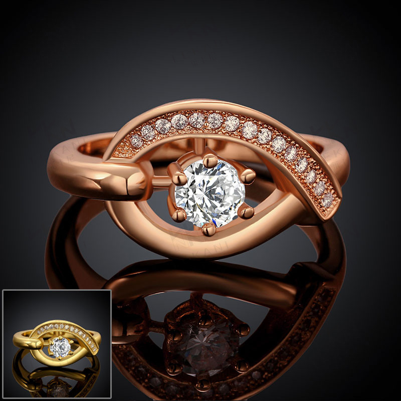 "Hot Selling Gold Plated Rings with Side Stones Brilliant Cut CZ Diamond ""Angel Eyes"" Wedding Ring for Women"