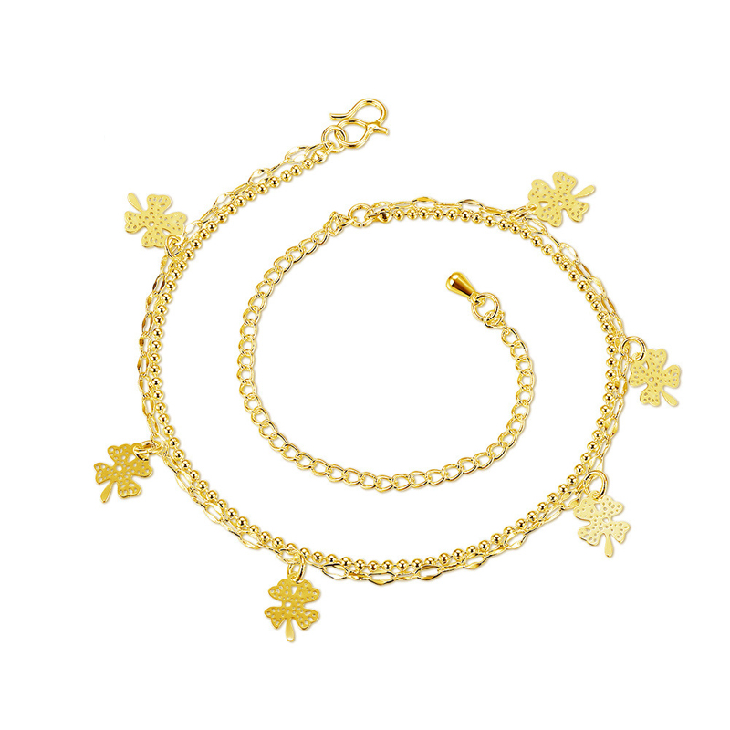 New High Quality Double Layer Flower Anklet Silver Gold Plated Foot Chain Jewelry for Women
