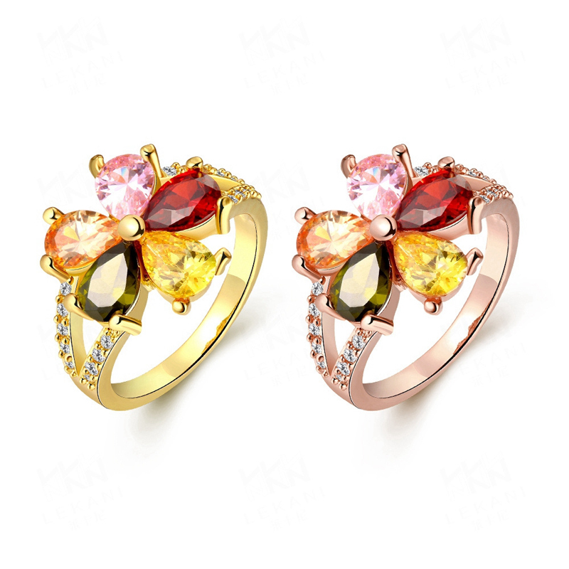 New Rings Jewelry Romantic Yellow/Rose Gold Plated with Big Colorful Crystals Flower Rings Wedding Rings for Women