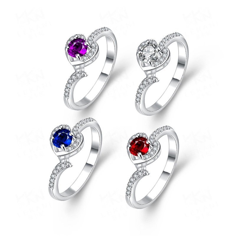 Romantic Heart Ring 4 Colors AAA Arrows CZ Silver Plated Heart Shaped Ring Jewelry for Women