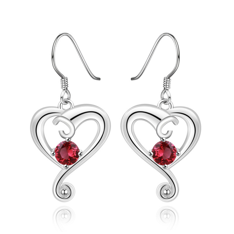 Fashion Jewelry 4 Colors Heart Shaped Earrings 925 Sterling Silver Jewelry for Women