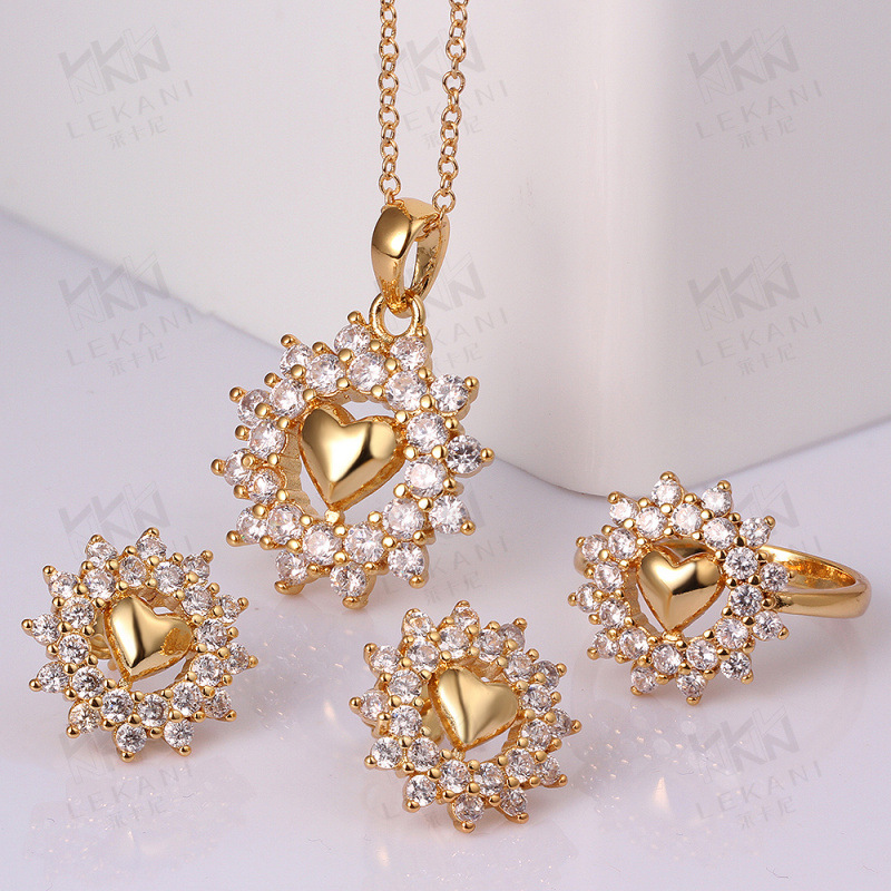 Gold plated Heart Shaped Jewelry Set Romantic Earrings &Necklace for Women