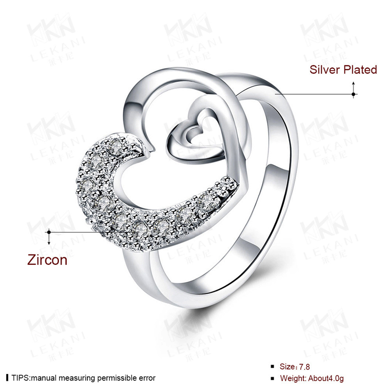 New Jewelry Two Heart Shaped Ring 925 Sterling Silver Beautiful Ring for Women