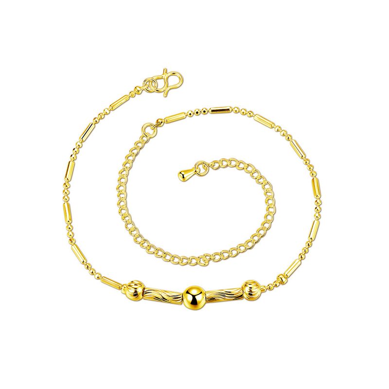 Fashion Simple Anklets Bracelets Silver Gold Plated Metal Bead Foot Bracelet Jewelry for Women