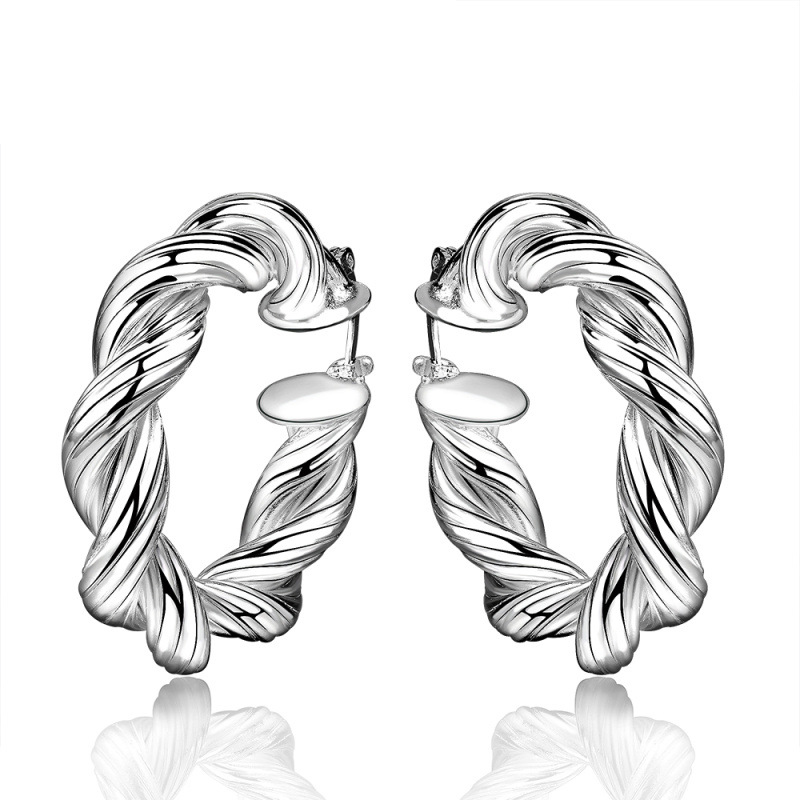 Twist Design Big Creole Hoop Earrings Silver Plated Round Earring European Brand Fashion Jewelry for Women