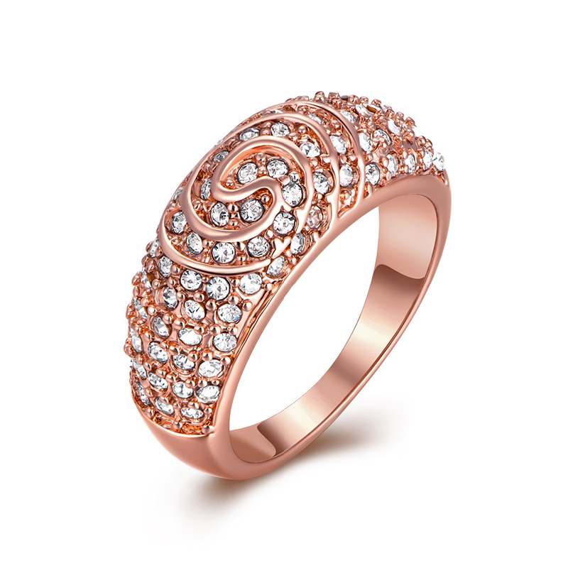 New Arrive Fashion Rose Gold Plated Multicolors Three Ball With Full Crystals Rhinestone Wedding Rings for Women