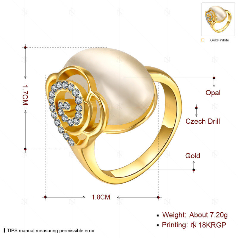 New Fashion Crystal Flower Opal Stone Ring Yellow/Rose/White Gold Plated Ring Jewelry Wedding Rings for Women