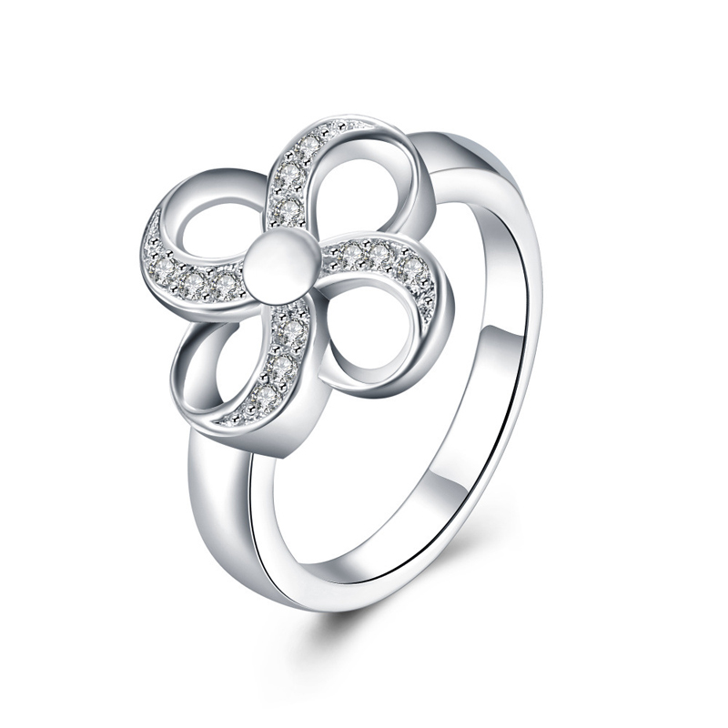 Fashion Jewelry Silver Plated Flower Rings Vintage Style Wedding Rings for Wowen