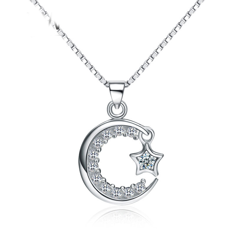 925 Sterling Silver Pendant Skleton Star Moon Diamond For Women