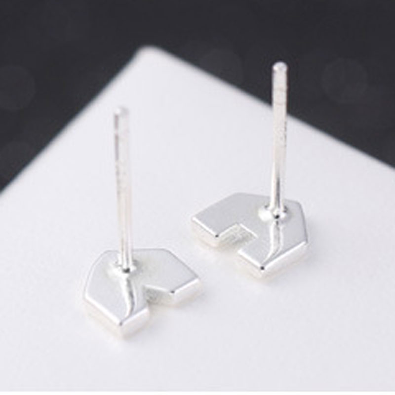 925 Sterling Silver House Stud Geometric Fashion Earrings B353