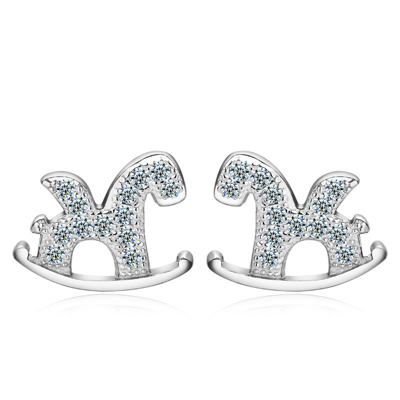Horse Shaped Studs 925 Sterling Silver Fashion Earrings WE053