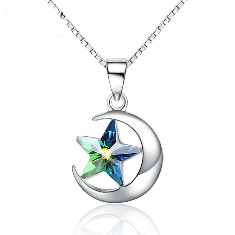 Female 925 Sterling Silver Fashion Star Moon Pendant