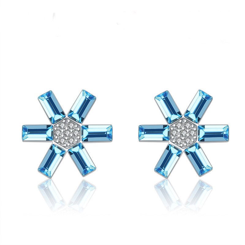 Fashion Sun Shaped Diamond Earrings 925 Sterling Silver Earrings B485