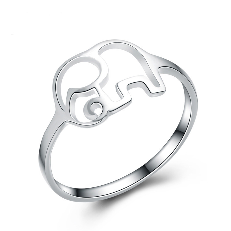 Fashion Elephant Shaped Simple Ring 925 Sterling Silver Ring E126