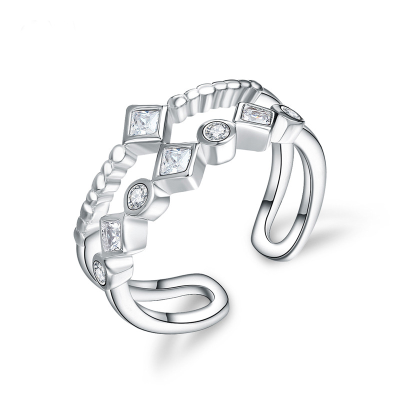 Geometric Fashion Diamond Ring 925 Sterling Silver Ring For Women E736