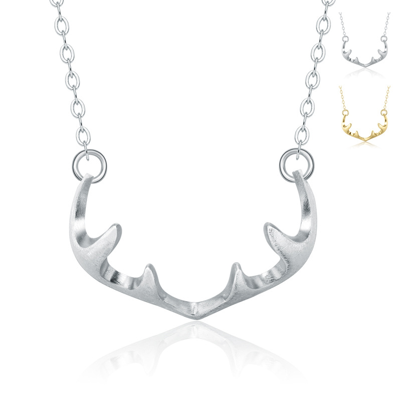 Female Pendant Antler Necklace 925 Sterling Silver A112