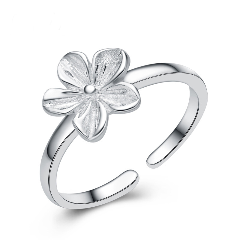 Flower Shaped Simple Ring 925 Sterling Silver Ring for Women E217