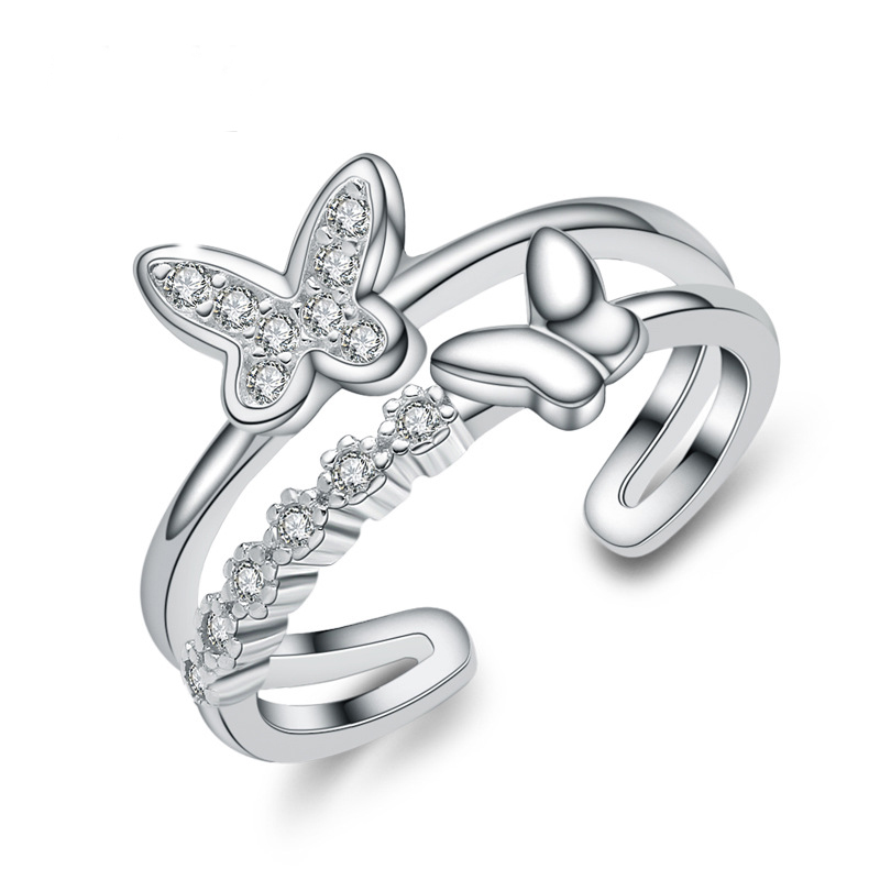 Butterfly Diamond Fashion Ring 925 Sterling Silver Ring for Women E237