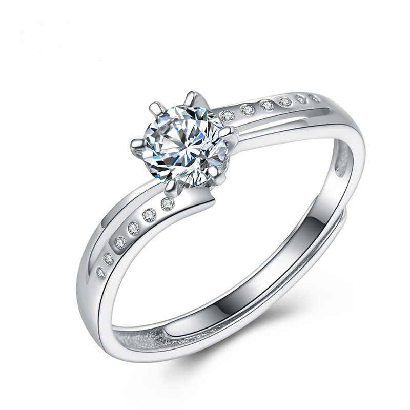Fashion Female Diamond Ring 925 Sterling Silver Ring E834
