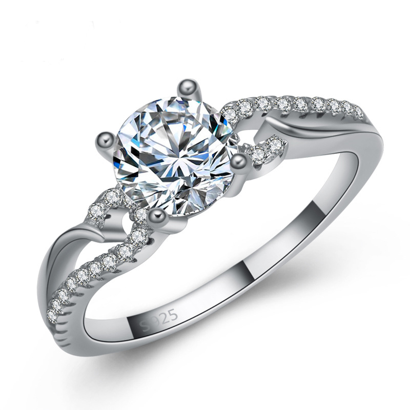 Female Ring Diamond Jewelry Ring 925 Sterling Silver E111