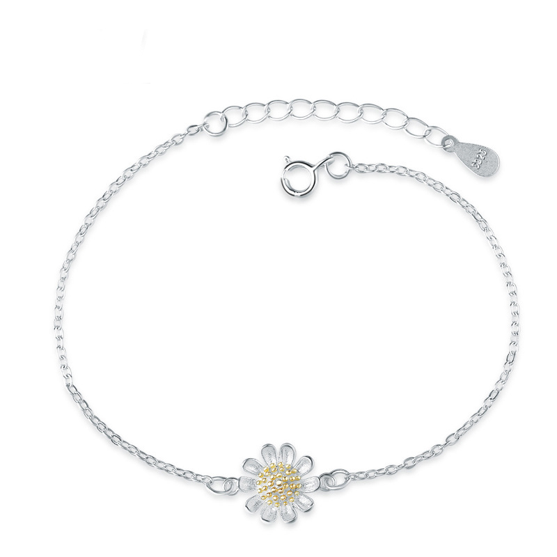 Small Daisy 925 Sterling Silver Fashion Anklets for Women D029